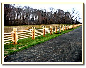 Colonial Style Round Rail Cedar Fence With Round Post