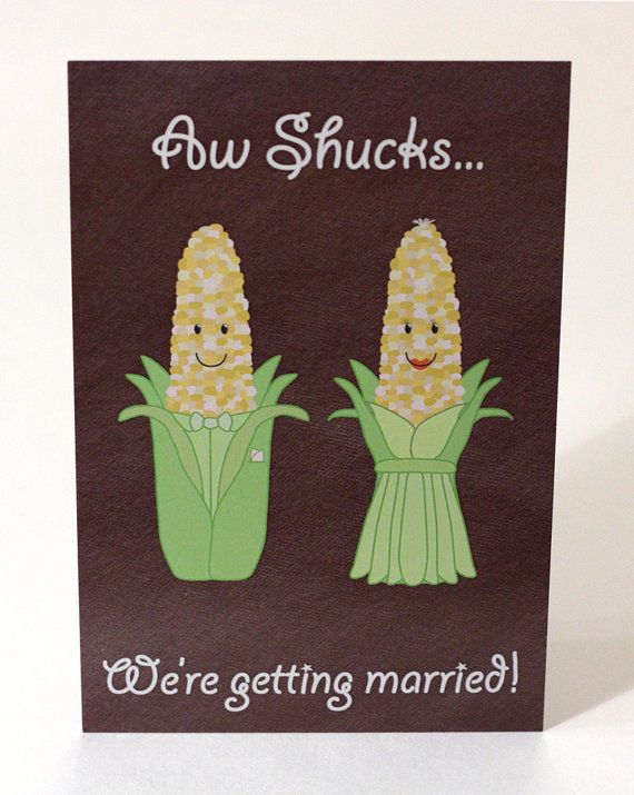 Aw Shucks! Corny Wedding Invitation - Postcard Style, Corn Wedding Invitation, Farm Wedding Invitation, Funny Wedding Invitation on Etsy, $2.72