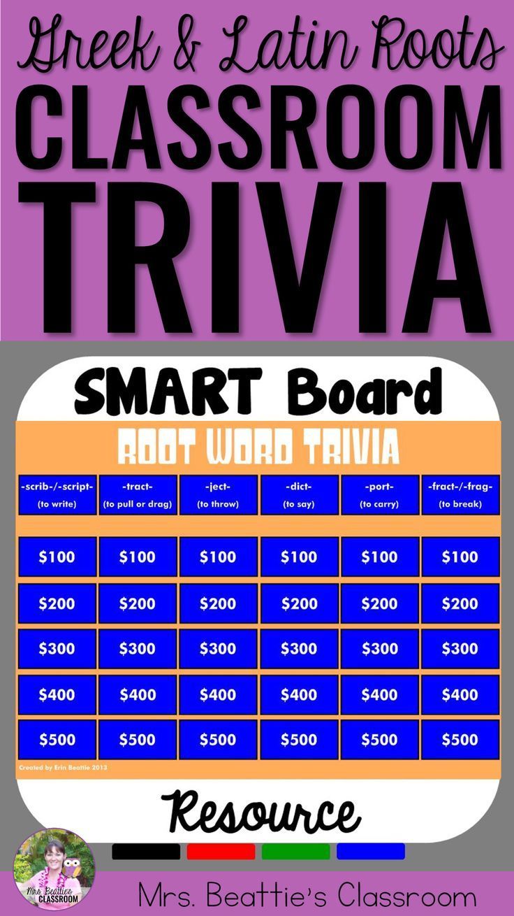 Teaching Greek & Latin roots in your classroom? This fun, interactive SMART Board trivia game duo is a great way to review the meanings of those Greek & Latin roots! Your students will love it! #interactive #wordwork #smartboard #triviagame