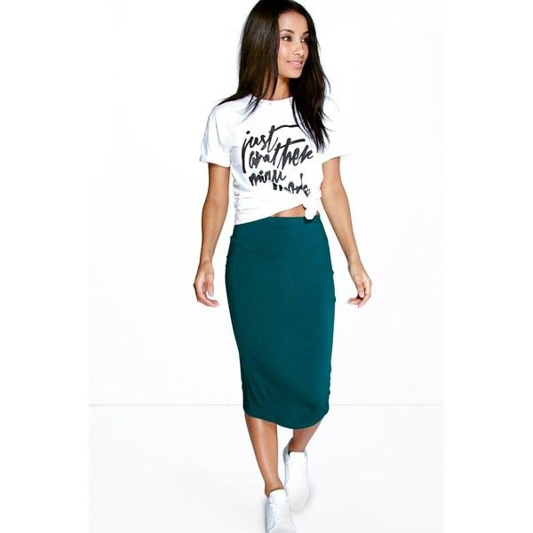 Boohoo Brea Basic Jersey Midi Skirt ($8) ❤ liked on Polyvore featuring skirts, bottle, bodycon skirt, midi skirt, bodycon midi skirt, calf length skirts en mid-calf skirt