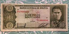 Bolivia 10 Cien Pesos Bolivianos 1962 Foreign Paper Money Banknote