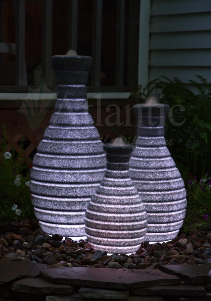 Atlantic water gardens color changing vase fountains for Scott and white fish pond