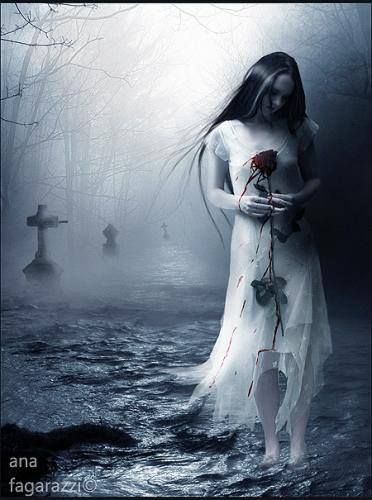 In the misty night, beneath the moon's silvery light, she rises, ghost-like, from her solitary tomb. Clothed in the bridal gown she was buried in, and holding a single red rose. Ever searching for her one true love.