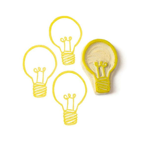 Bright Ideas Lightbulb Rubber Stamp - Hand Carved Stamp. $9.00, via Etsy.