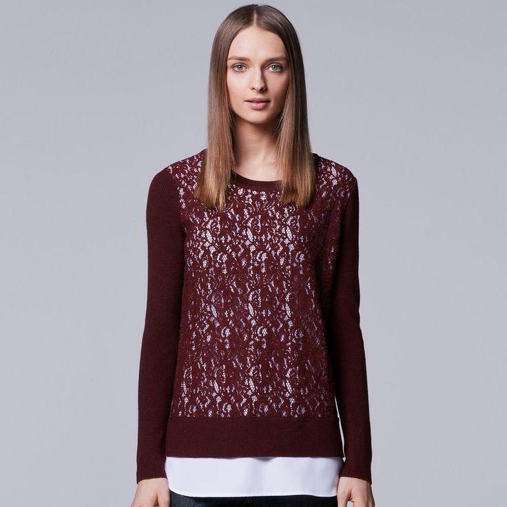 Women's Simply Vera Vera Wang Mock-Layer Lace Sweater, Size: Medium, Dark Red