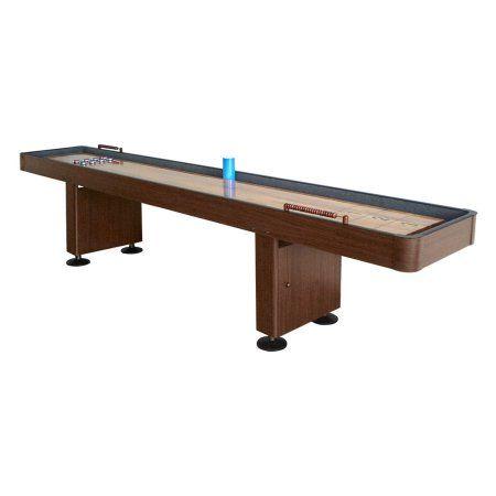Hathaway 12' Shuffleboard Table, Dark Cherry Finish, Red