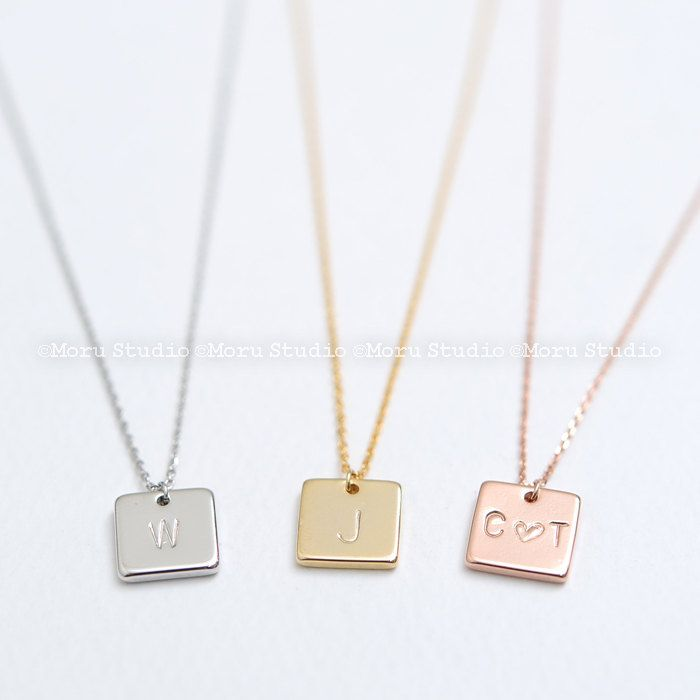 Initial Square Necklace/ Custom Rose Gold Silver Gold/ Friendship Necklace/ Gift for Mom, Wife, Sisters, Bridesmaids, Love Gift/ NBR031 by MoruStudio on Etsy