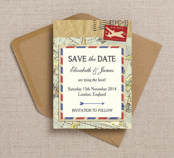 cruise wedding save the date announcement%0A Vintage Airmail Destination Wedding Save the Date Cards or Magnets