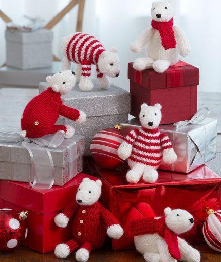 Polar Bear Ornaments Free Knitting Pattern from Red Heart Yarns
