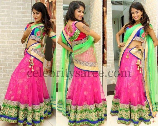 Anukruthi Pink Half Saree | Saree Blouse Patterns
