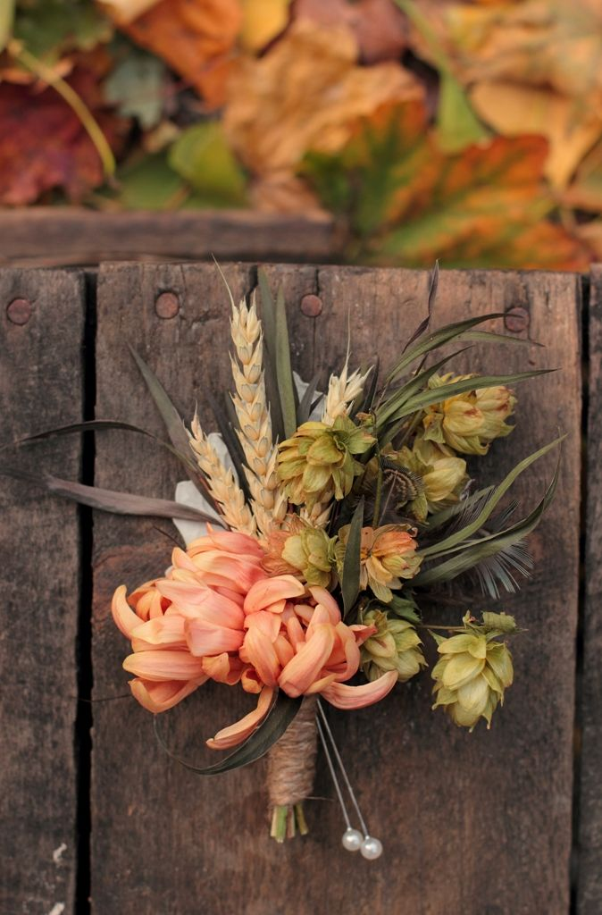 """Beer boutonniere"" featuring dried wheat and hops. Who says you can't fit your love of beer in every occasion?"