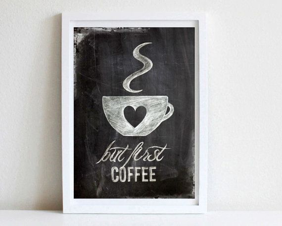 Digitaldruck - but first coffee, Poster DIN A4 - ein Designerstück von goodGirrrl bei DaWanda