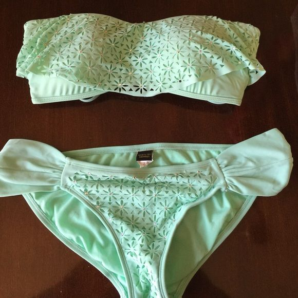 Very cute bikini! Tube top and bottom. Lace lining with little diamond sequin on top and bottom! #adorable #comfortable Ninety six degrees Swim Bikinis