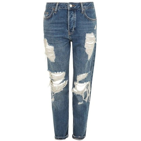 Women's Topshop Hayden Super Ripped Boyfriend Jeans (1.217.070 IDR) ❤ liked on Polyvore featuring jeans, mid denim, blue distressed jeans, distressed jeans, blue ripped jeans, denim boyfriend jeans and blue jeans