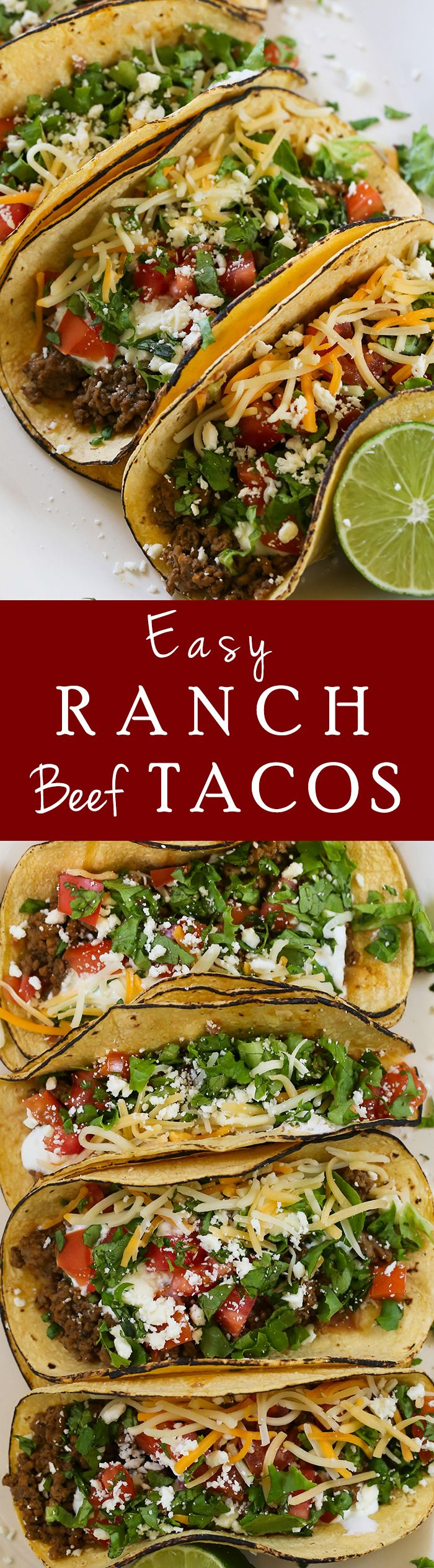 Ranch Beef Tacos - You've never had ground beef tacos this good before! Made with easy ingredients in 25 minutes!!!