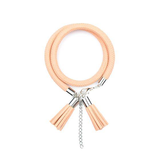 Peach Rope Bracelet. Rope Jewelry. Tassel Jewelry. by casseljewelry #fashion #handmadejewelry #handmade #jewelry #unique #design #casseljewelry #fashionjewelry #jewelrydesign #etsy #ShopEtsy #EtsyFinds #EtsyForAll