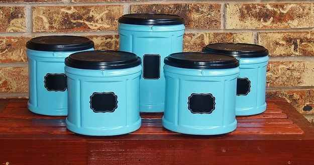 Revive Empty Folgers Coffee Containers as Funky Kitchen Canisters. | 19 Insanely Clever Organizing Hacks