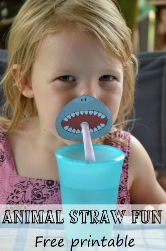 Free printable animal straw toppers... a shark, snake, lion/tiger and warthog! From Wildlife fun 4 kids