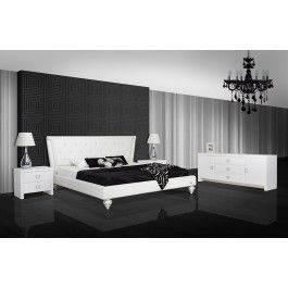 Monica Transitional White Leather Bed -