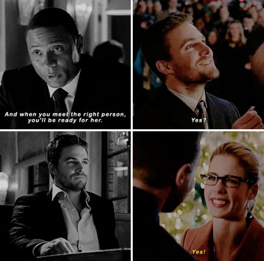 """""""And when you meet the right Person , You'll be ready for her """"  #Olicity <3<3<3"""