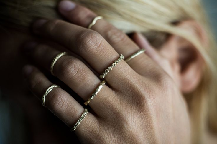 HEIR·LOOM, stackable yellow gold rings by Rhodes Wedding Co.