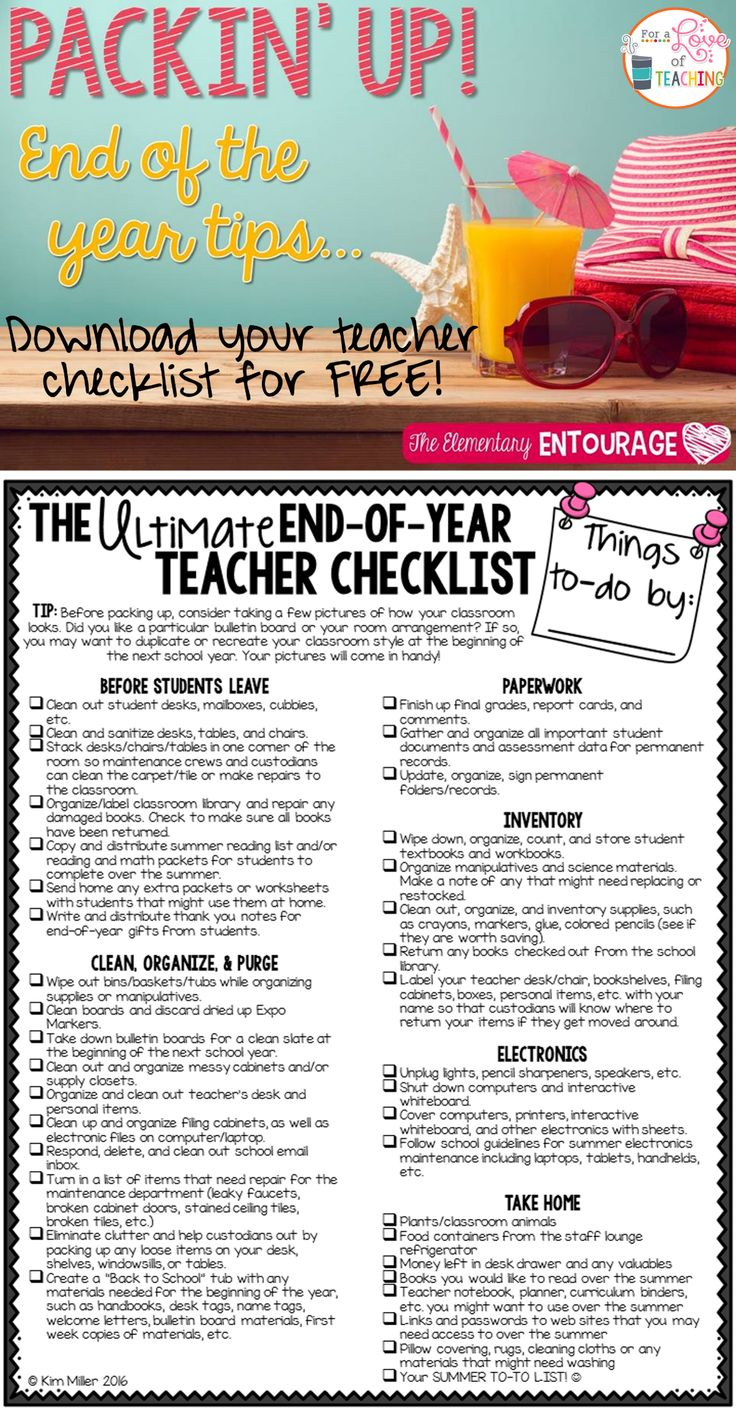 The Ultimate End of Year Teacher Checklist - keep yourself organized and motivated at the end of the school year!