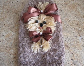 Dog Sweater Yorkie Black with Red By Nina's by NinasCoutureCloset