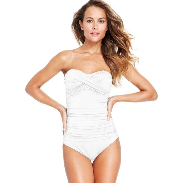 Anne Cole Twisted-Front Bandeau One-Piece Swimsuit ($92) ❤ liked on Polyvore featuring swimwear, one-piece swimsuits, white, 1 piece bathing suits, swim suits, white bandeau swimsuit and ruched one piece bathing suit