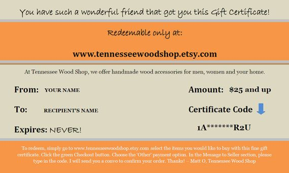 how to make e gift certificates