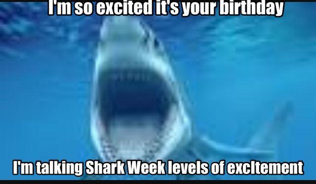 Birthday humor; Shark Week; funny birthday wish