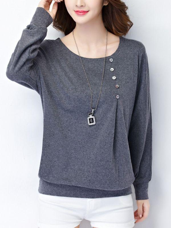 45632663c0 Button casual long sleeve pure color cotton round neck women t-shirt t  shirts women 8217 s debenhams  girly  customized  t-shirts  t  shirt  for   girl ...