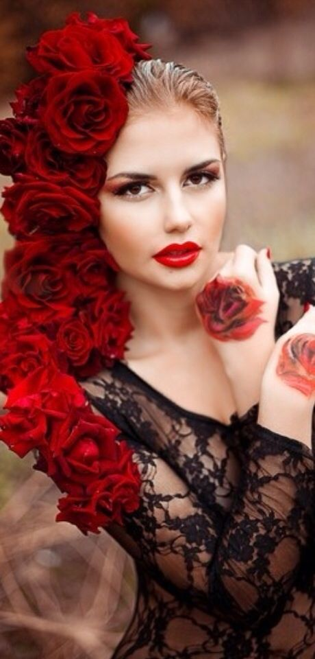 "firstloveisforeverremembered: ""Beautiful woman with roses """