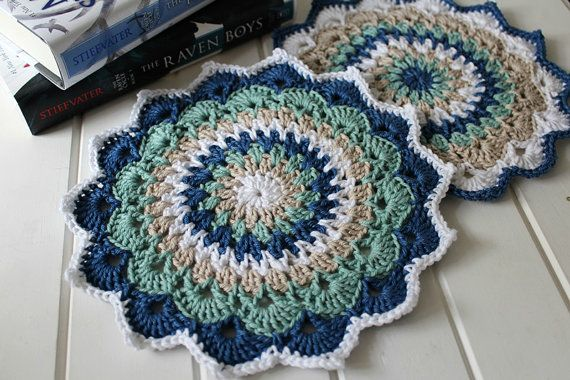 Crochet Magnolia Mandalas Set of Two by threadbarehandmadeau