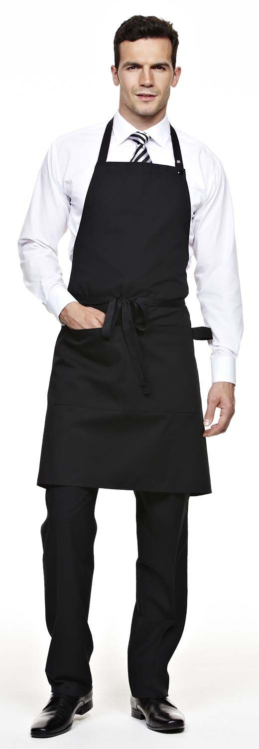 Simon Jersey black popper strap apron from £6.29 // Waiter apron, waitress apron, bar apron, hospitality uniform, waiting uniform, bar uniform, perfect for chefs, kitchen staff, catering, retail, cafes, coffee shops, hospitality, hotels, hoteliers etc.