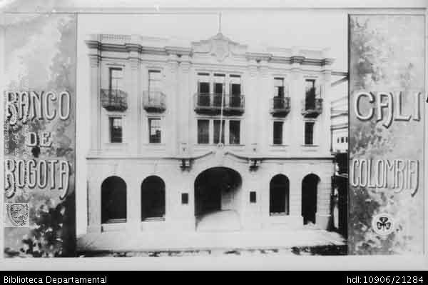PEDRO RIASCOS. Centro de Cali, sede del Banco de Bogotá. Cali 1961 OTRO: Biblioteca Departamental Jorge Garces Borrero, 1961. 9X13 x.