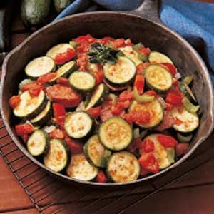 Skillet Zucchini and Sausage Recipe.  Making tonight and using canned diced petite tomatoes since I don't have any fresh ones at the house.