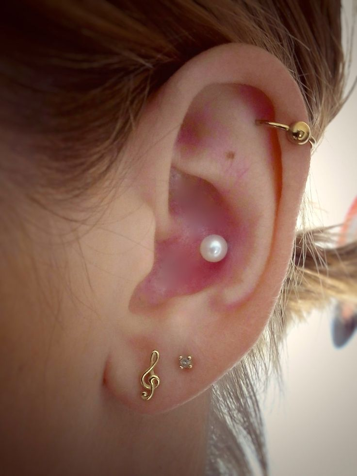 Inner Conch Piercing with Pearl Stud & Gold Jewelry