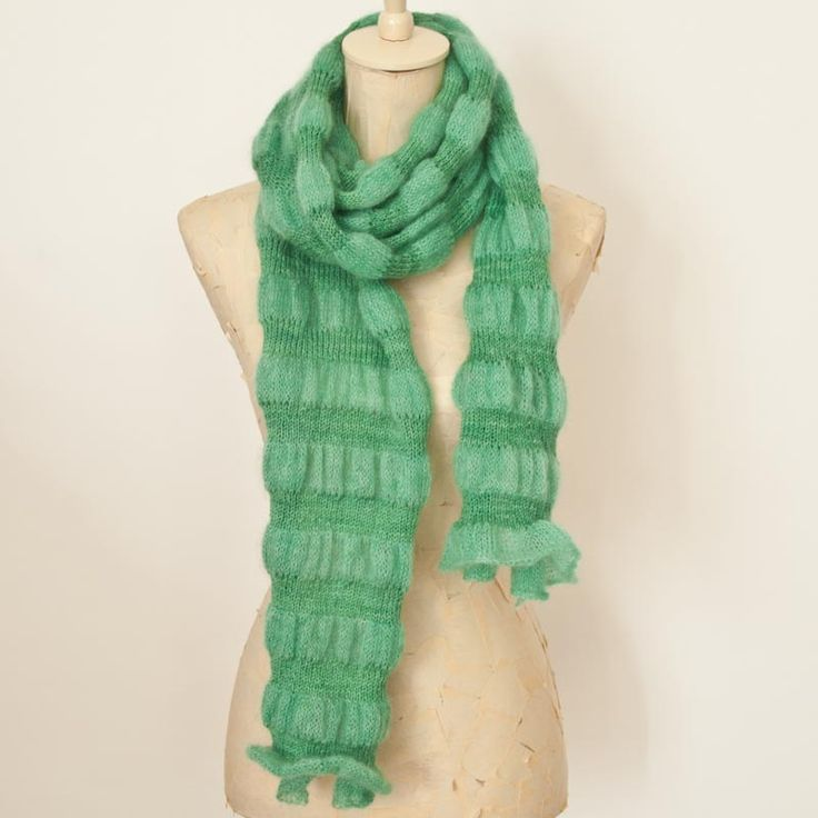 Free knit pattern by cowgirlblues: Elmarie's Soft Stripe Scarf knit in kid mohair and silk blend yarn striped with wool