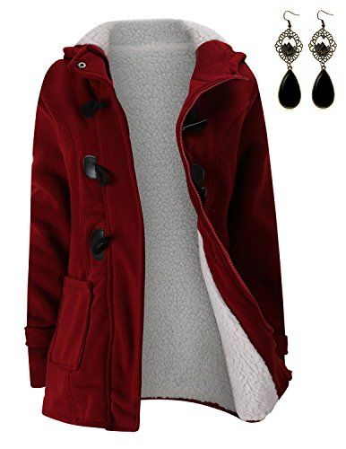 M-Queen Femme Manteaux à Capuche Gilet Bouton épais Blouson Hiver Hoodie  Veste Jacket Casual Outwear Coat Fleece Manteau-Ro…   Manteaux femme  printemps ... d9ac94748f78