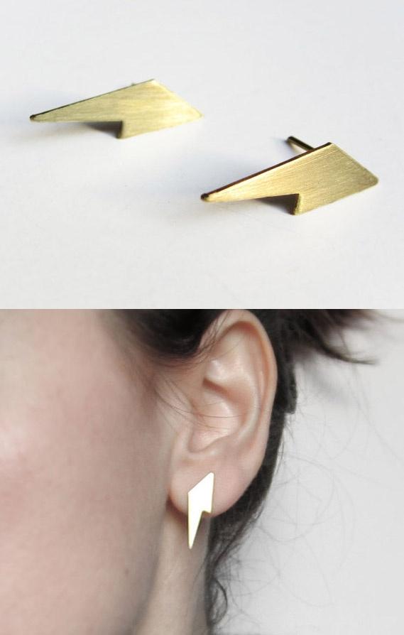 Lightning stud earrings