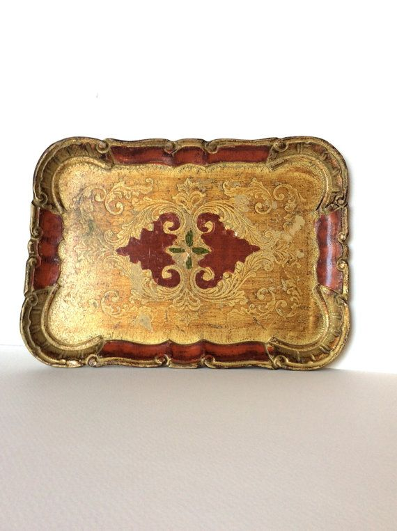 Florentine tray. Wooden tray. Gold tray. by SouthofFranceFinds