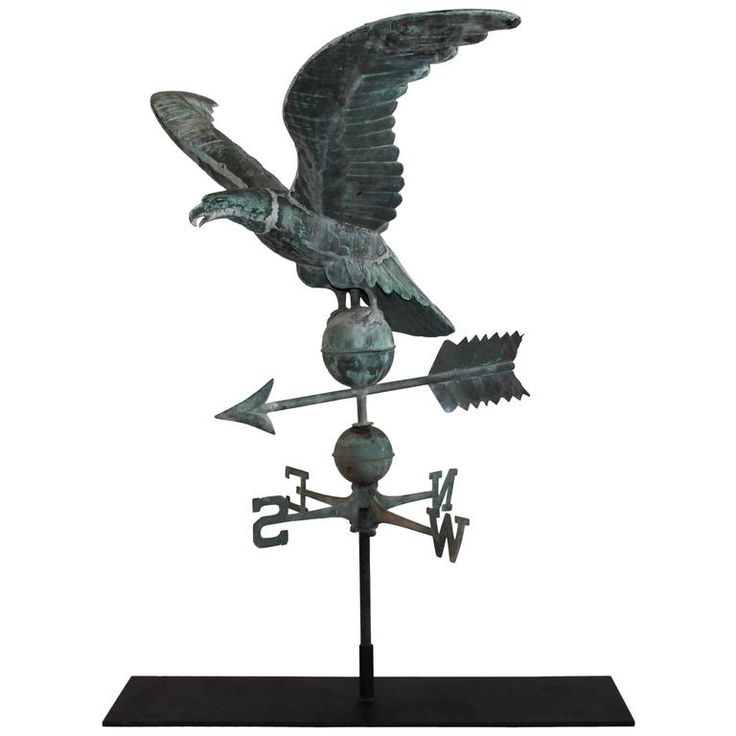19th Century Monumental Full Body Eagle Weather Vane with Custom Iron Mount | From a unique collection of antique and modern weathervanes at https://www.1stdibs.com/furniture/folk-art/weathervanes/