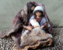 Needle Felted Nativity with Cactus Manger, Mary Snuggles with Joseph and Baby Jesus