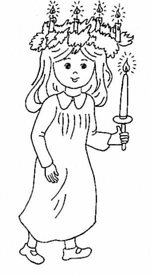 St Lucy S Day Coloring Page Malarbok Julbilder Julkort