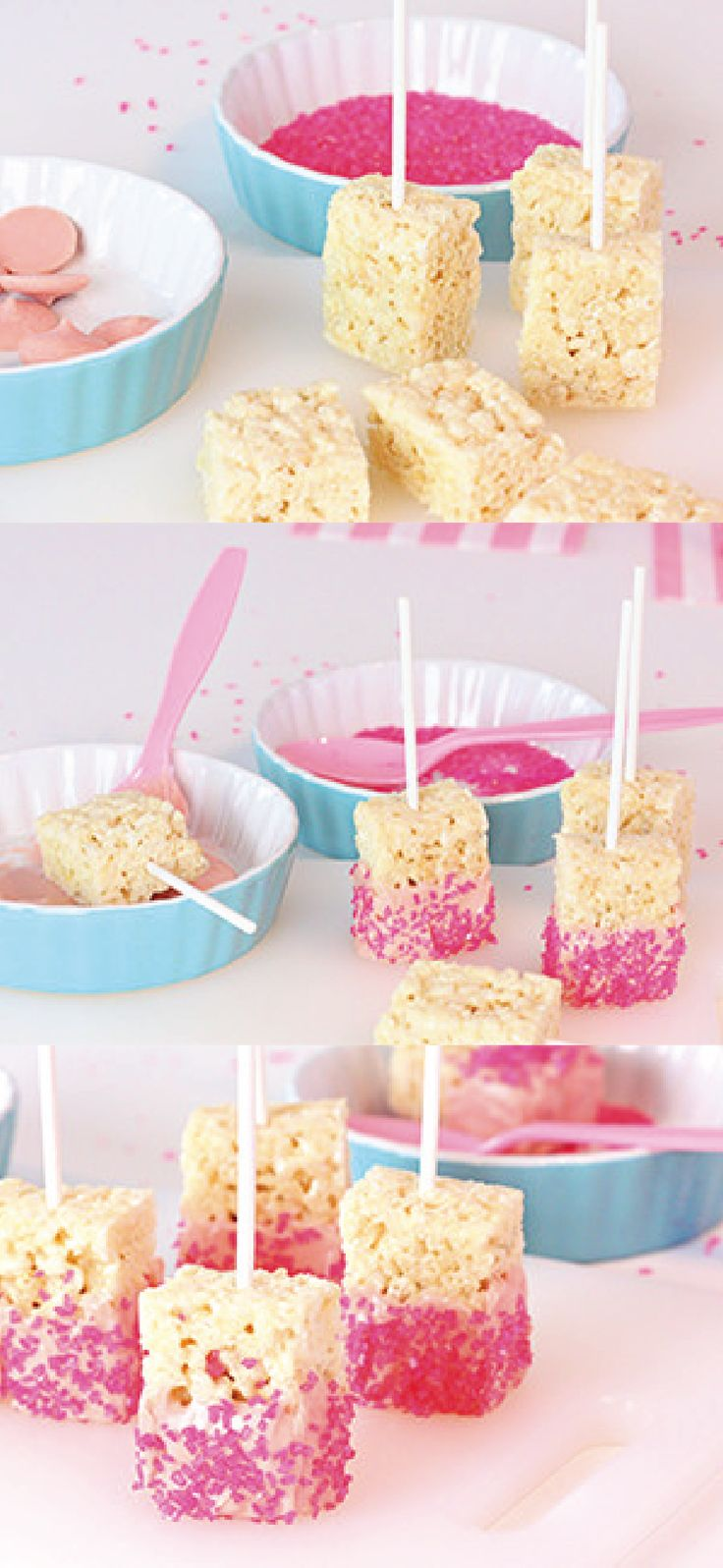 Looking for something fun and easy to share on Valentine's Day? These little Rice Krispies Treats® Pops are even easy to make with your kids since they can help decorate each dessert with pink sprinkles!