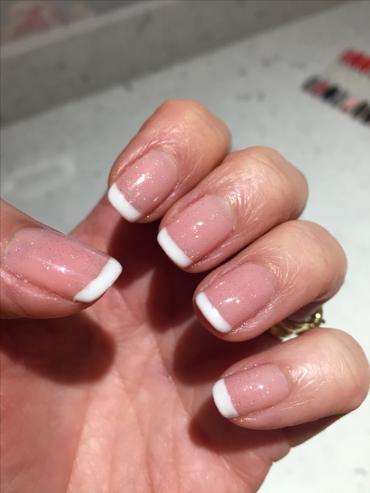 French manicure using ibd just gel polish whipped cream, naturally beautiful & fireworks