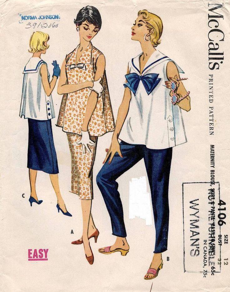 1950's VTG McCall's Maternity Blouse,Skirt & Pants Pattern 4106 Size 12