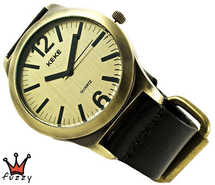 Ανδρικό ρολόι σε μπρονζέ χρώμα.  Λουράκι δερμάτινο σε μαύρο. Καντράν44 mm.