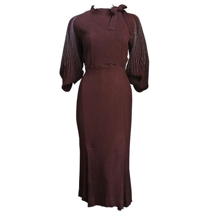1930's MAINBOCHER Brown Crepe Dress With Beaded Sleeves
