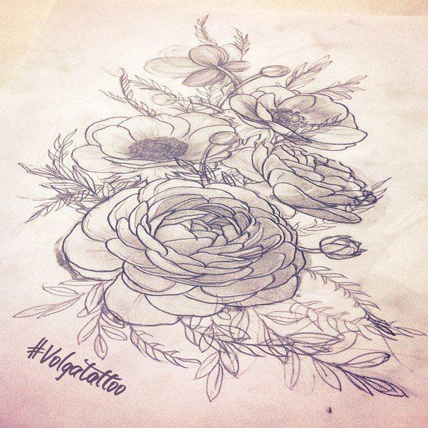 Sketch flowers with strange names for Krystina's hip Эскиз цветов со странными названиями на бедро #volgatattoo #flowers #hip #anemones #ranunkulyus #анемоны #ранункулюс #sketch #tattoo  #тату  #эскиз #neotraditionals #neotrad #неотрадишнл